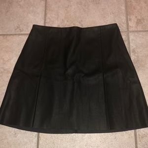 Leather pleated new black mini skirt size 4